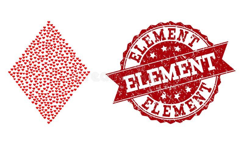 Valentine Heart Mosaic do ícone do rombo e do selo enchidos do Grunge ilustração do vetor