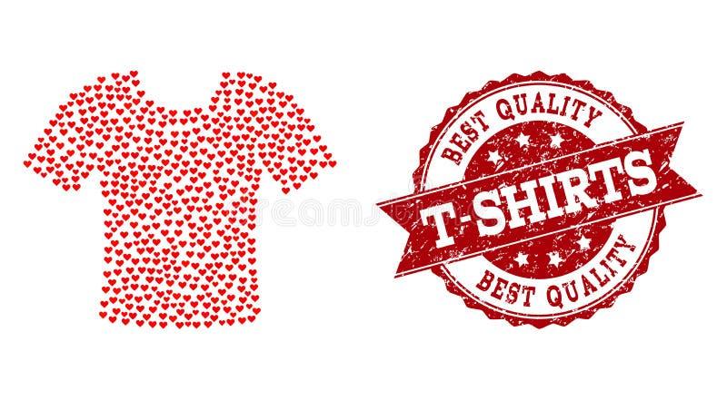 Valentine Heart Mosaic do ícone do t-shirt e da filigrana do Grunge ilustração royalty free