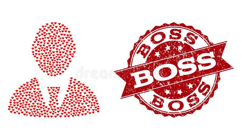 Valentine Heart Mosaic do chefe Icon e do carimbo de borracha ilustração stock