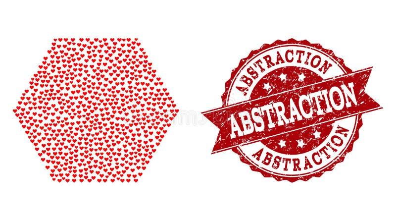Valentine Heart Mosaic van Gevulde Hexagon Pictogram en Grunge-Verbinding vector illustratie