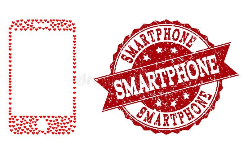 Valentine Heart Mosaic van Smartphone-Pictogram en Rubberwatermerk stock illustratie