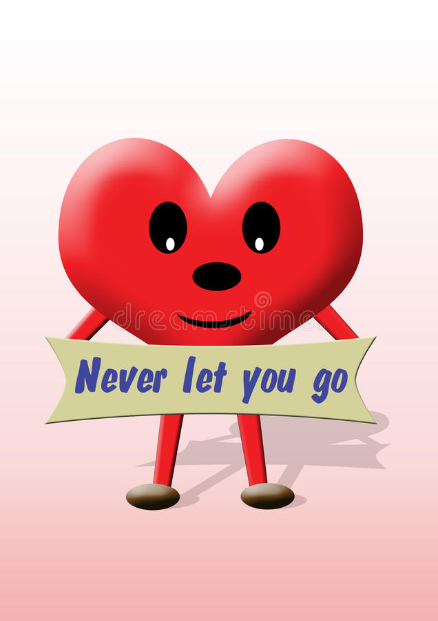 Valentine Heart: Never Let You Go Stock Photo