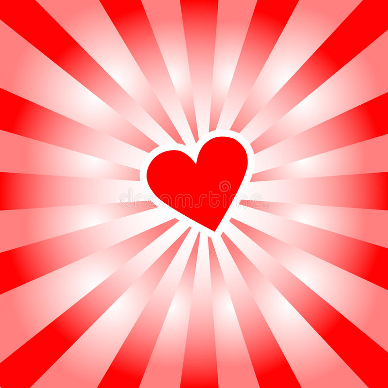 Download Valentine Heart Radiates Red Rays Of Love Stock Vector - Image: 12811489
