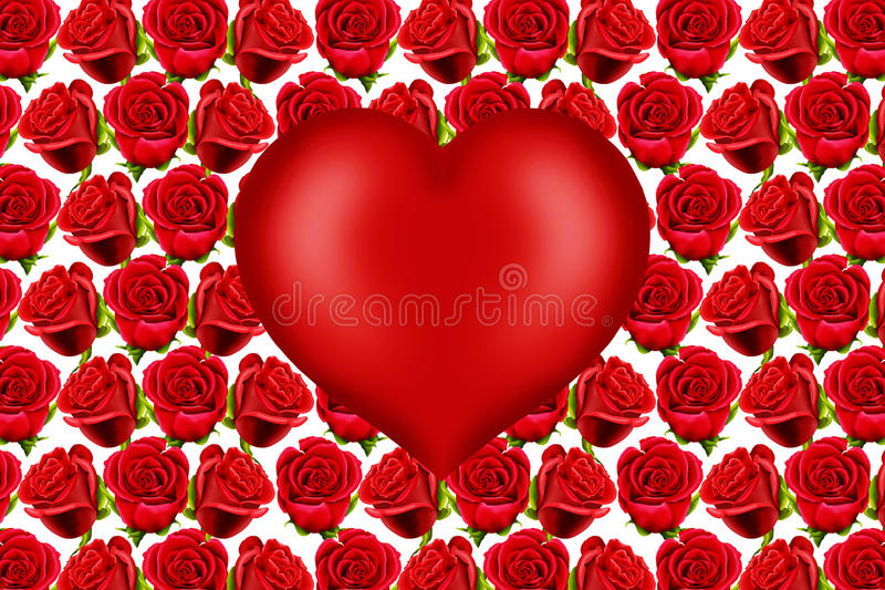 Valentine heart on red roses background. Valentine heart, with space for text, on a red roses pattern background stock images