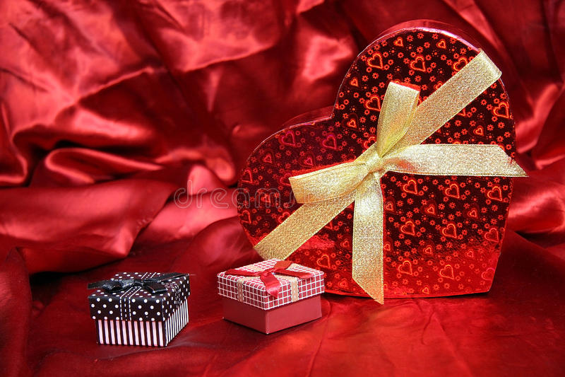 Valentine Heart Shape Gift Box royalty-vrije stock foto