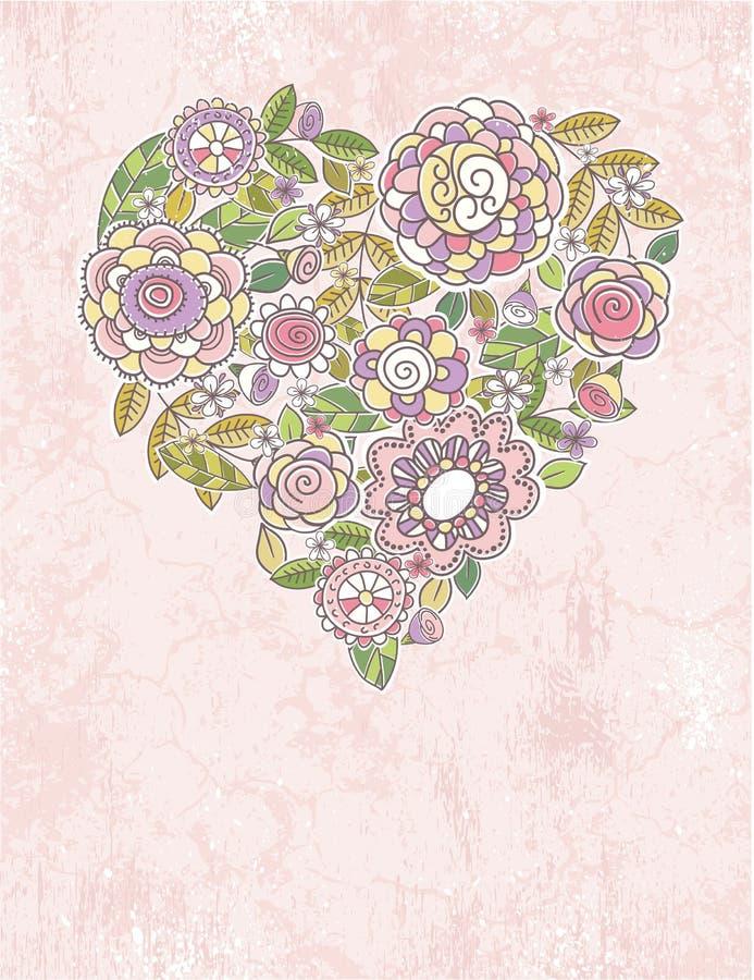 Valentine heart of spring flowers royalty free illustration