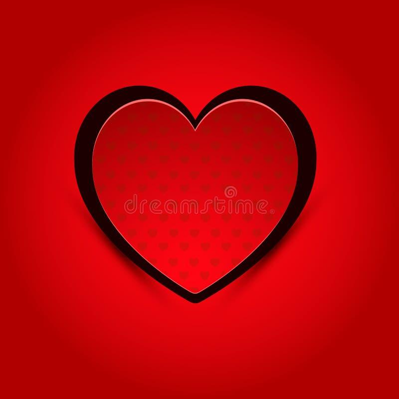 Valentine Heart vermelho ilustração stock