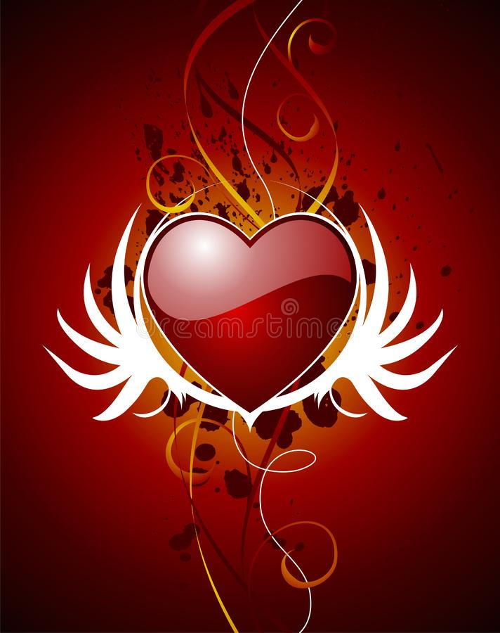 Download Valentine hearth with wing stock vector. Image of date - 4208068