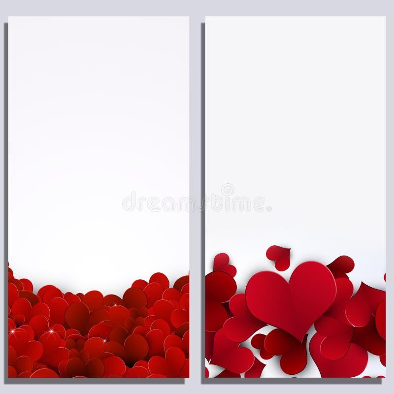 Valentine Hearts Abstract Banners stock de ilustración