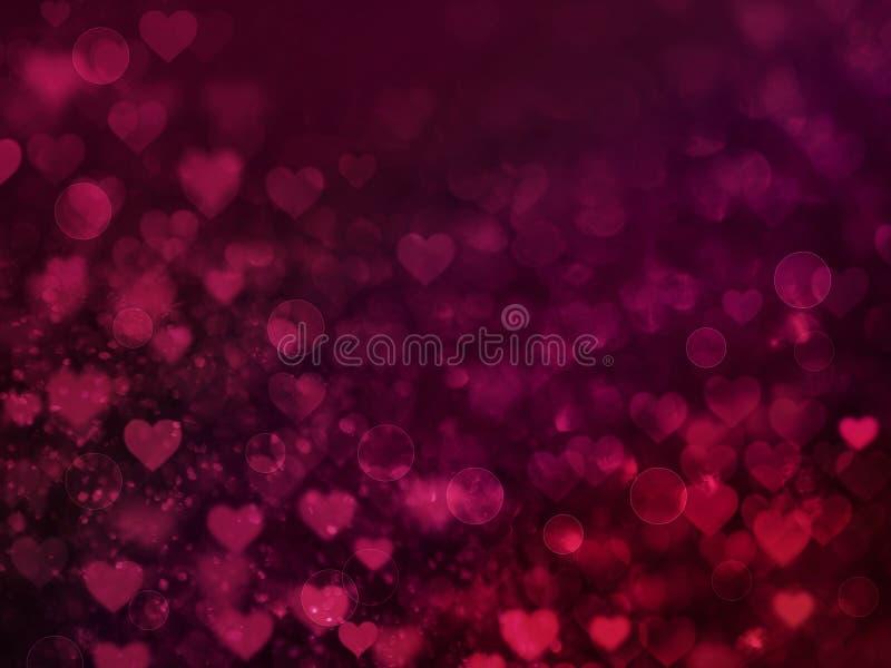 Valentine Hearts Abstract Red Background com bokeh ilustração royalty free