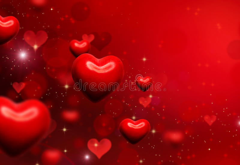 Valentine Hearts Background. Valentines Red Abstract Wallpaper royalty free illustration