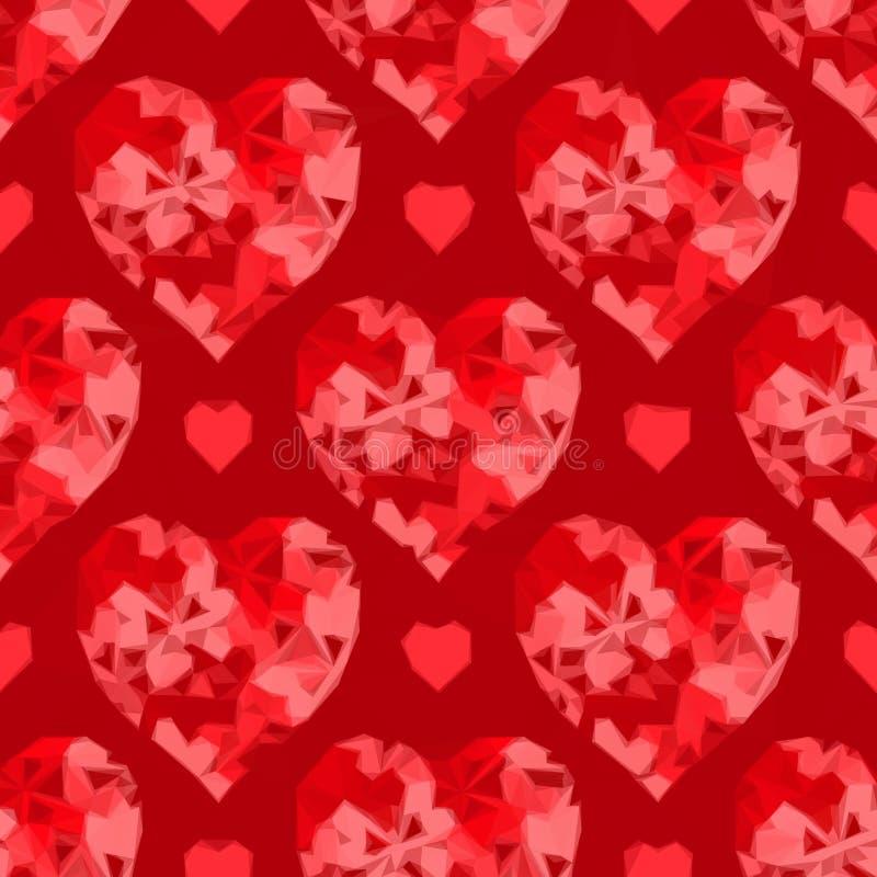 Valentine Hearts Background Low Poly ilustração royalty free