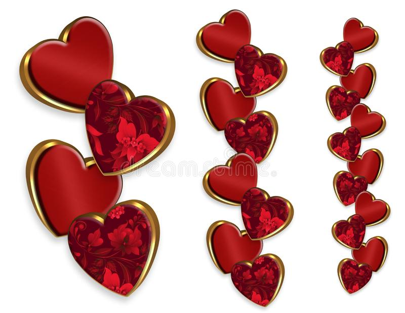 Valentine hearts fancy borders 3D-look royalty free illustration