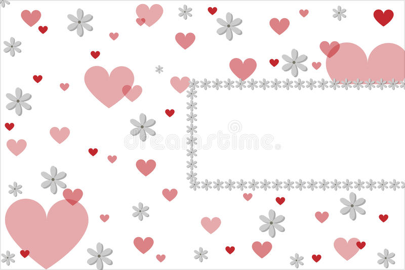 Valentine hearts card. A valentine card with hearts and flowers and a frame for your text.Useful as greeting-card or invitation.EPS file available vector illustration