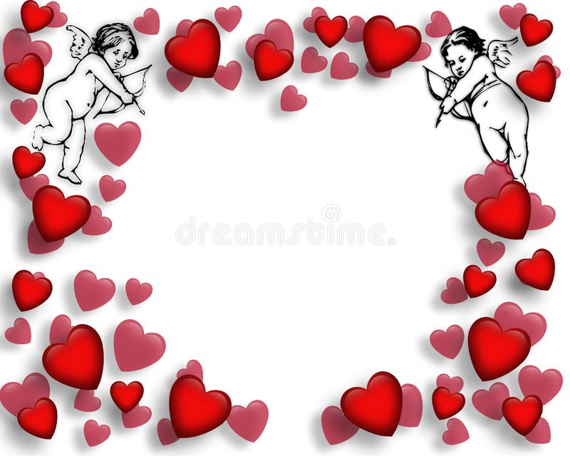 Valentine Hearts And Cupids Border Stock Photos