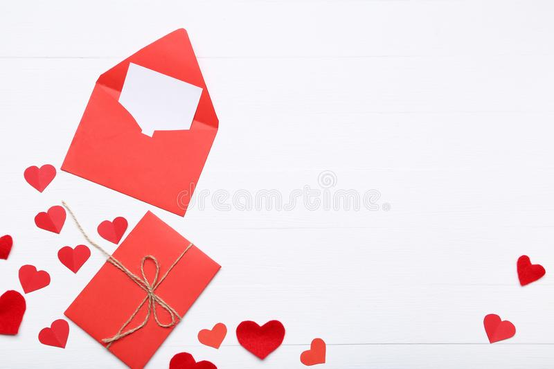 Valentine hearts with envelopes royalty free stock photos
