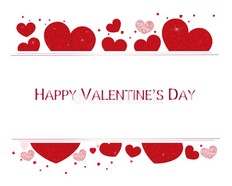 Valentine hearts and Happy Valentines Day text. Valentines Day wallpaper stock photo