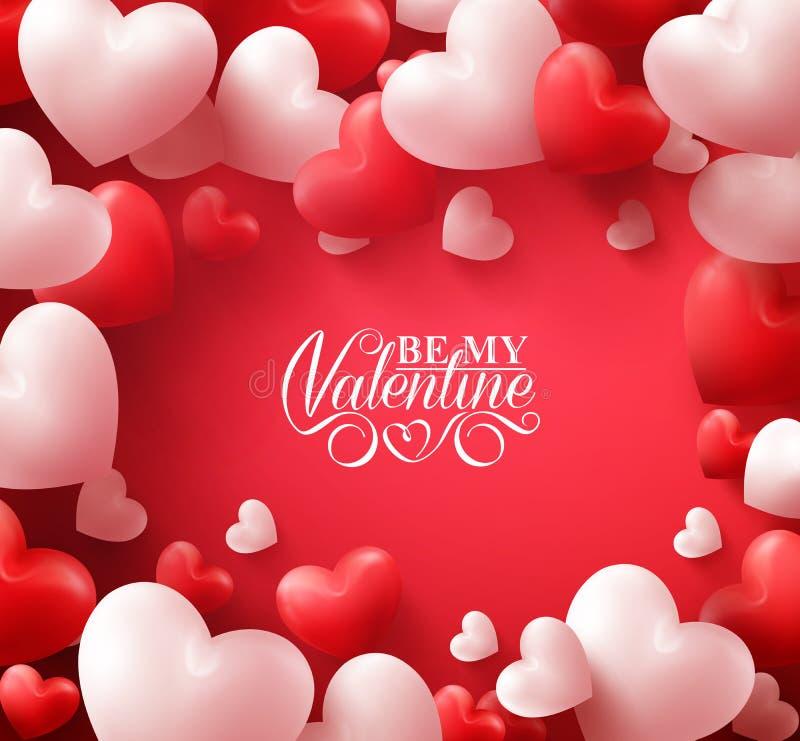 Valentine Hearts i röd bakgrund med lyckliga valentindaghälsningar vektor illustrationer