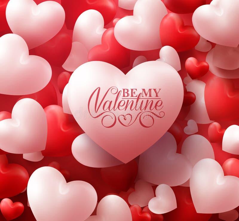 Valentine Hearts no fundo vermelho com cumprimentos felizes do dia de Valentim ilustração stock