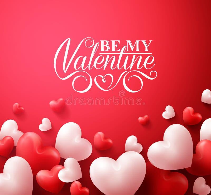 Valentine Hearts no fundo vermelho que flutua com cumprimentos felizes do dia de Valentim ilustração do vetor
