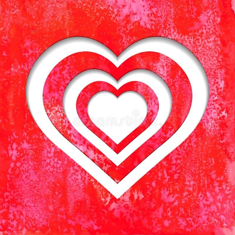 Valentine Hearts på röd vattenfärgbakgrund stock illustrationer