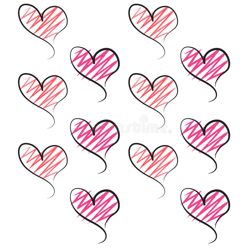 Valentine Hearts Pink red pink white Background royalty free illustration