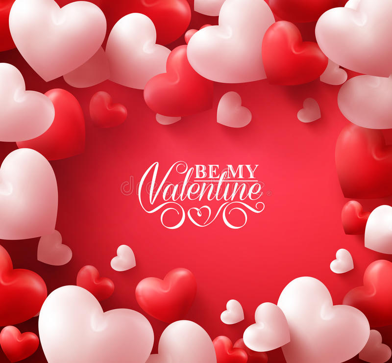 Valentine Hearts in Red Background with Happy Valentines Day Greetings vector illustration