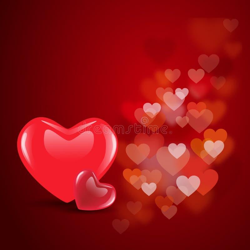 Valentine Hearts rosso sul fondo decorativo floreale di amore ENV 1 illustrazione vettoriale