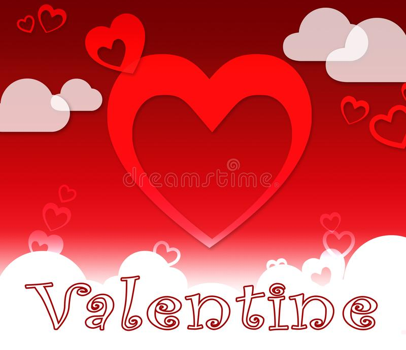Valentine Hearts Shows Love Romance And Celebration. Valentine Hearts And Clouds Shows Love Romance And Celebration stock illustration