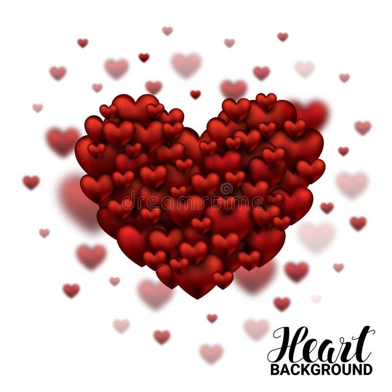 Valentine Hearts suave y liso rojo en el día de tarjetas del día de San Valentín blanco del fondo Ejemplo realista del vector 3D libre illustration