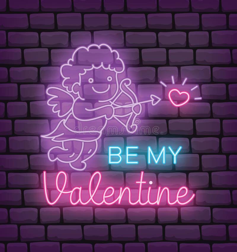 Valentine-het begroeten in neoneffect stijl vectorillustratie royalty-vrije illustratie