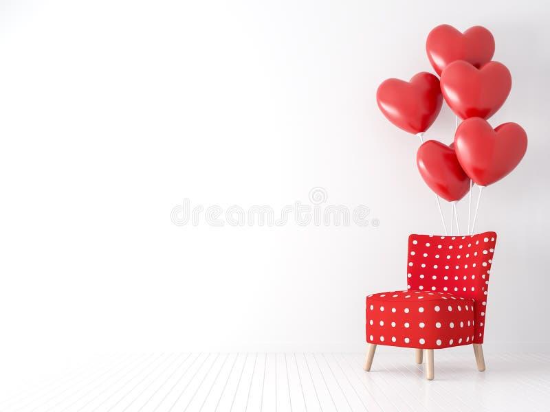 Valentine-het concept met rode stof en de witte 3d puntstoel geven terug royalty-vrije illustratie