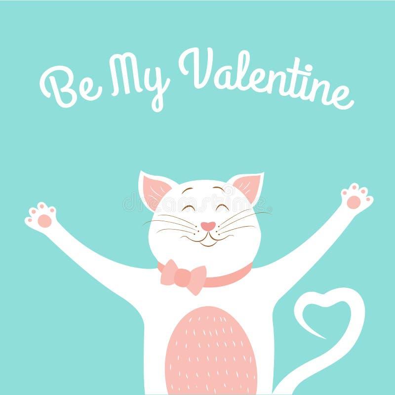 Valentine-het malplaatje van de dagkaart leuke het glimlachen kattenliefde stock illustratie