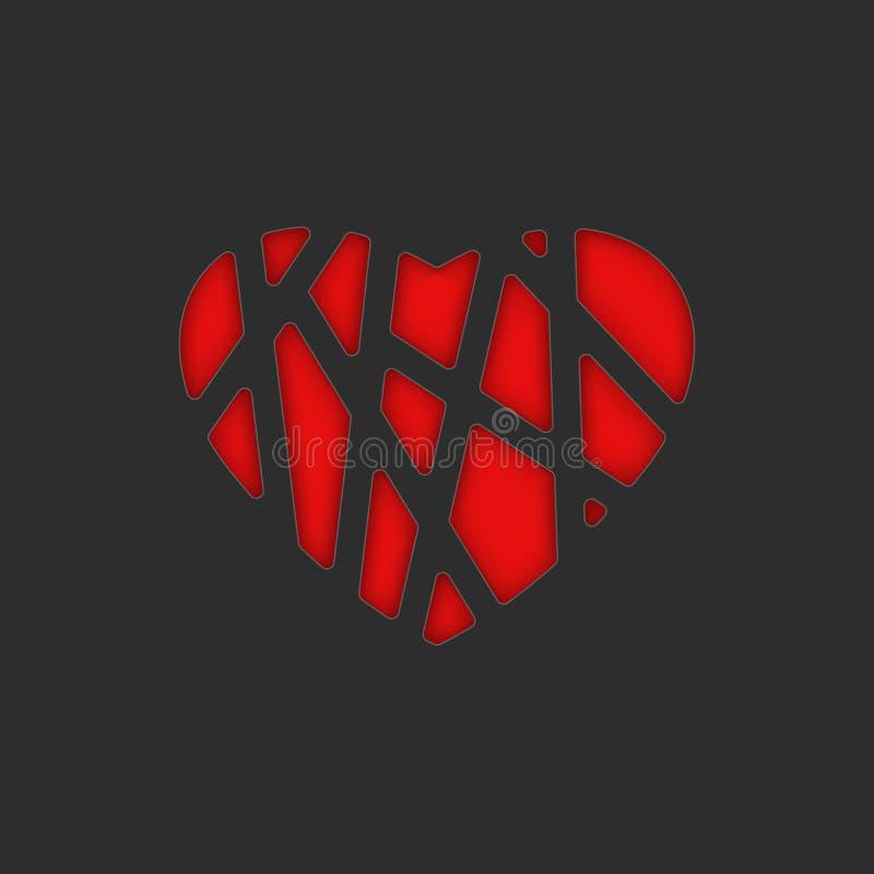 Valentine heureux est carte de voeux de jour est calibre noir vide d'affiche d'amour la forme d'un coeur rouge avec un tissage de illustration stock