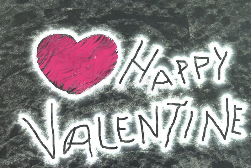 Valentine heureux : Texte et forme graphiquement produits de coeur image stock
