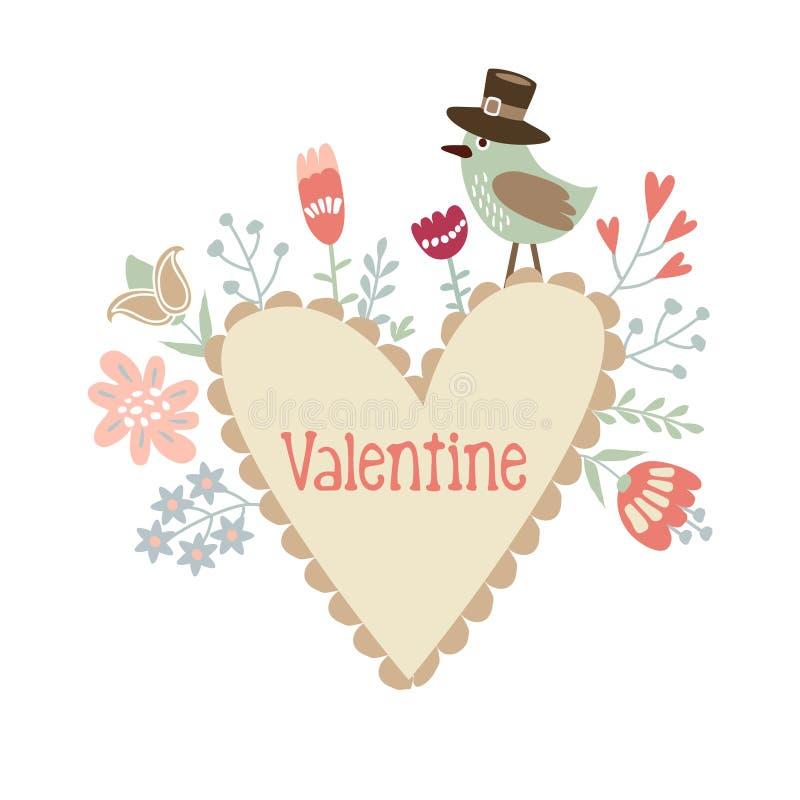 Valentine, huwelijk, verjaardagskaart of uitnodiging met hart, vogel en bloemen, decoratieve geïllustreerde achtergrond vector illustratie