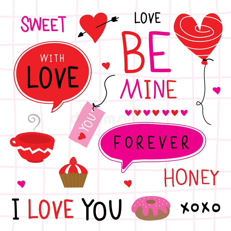 Valentine I houdt van u Vector van het Liefje de Leuke Beeldverhaal stock illustratie