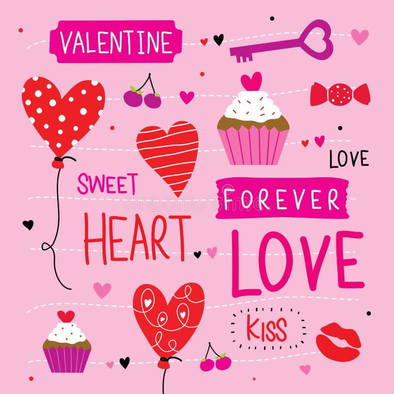 Valentine I houdt van u Vector van het Liefje de Leuke Beeldverhaal vector illustratie
