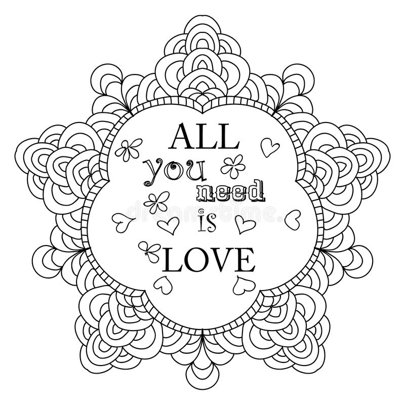 Download valentine i love you quote adult coloring page stock illustration illustration of illustration