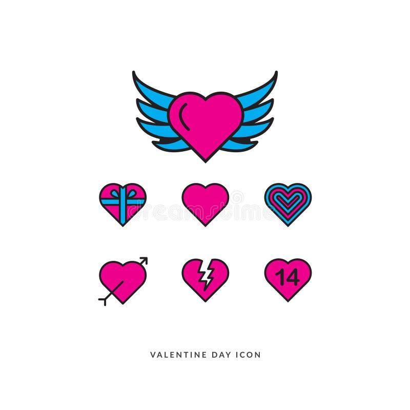 Valentine Icon ajustou o vetor EPS 10 ilustração do vetor