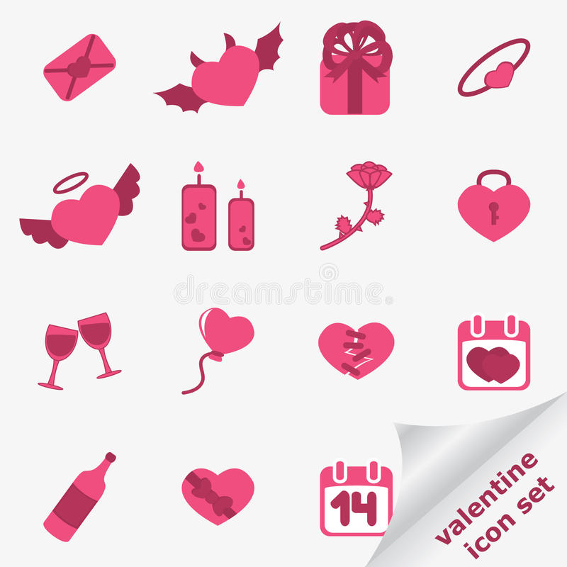 Download Valentine icon set stock vector. Image of passion, envelope - 12784914
