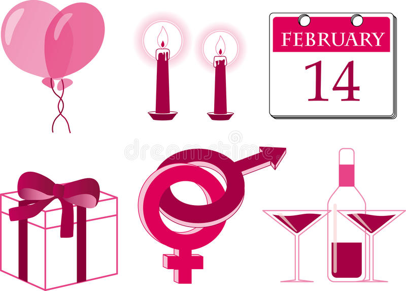 Valentine icon set stock photos