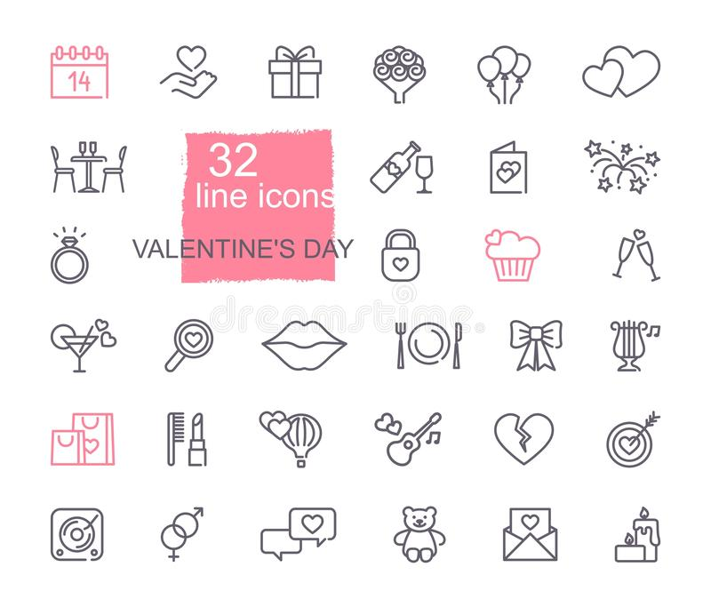 Valentine icon set. Happy valentine day related icons vector illustration