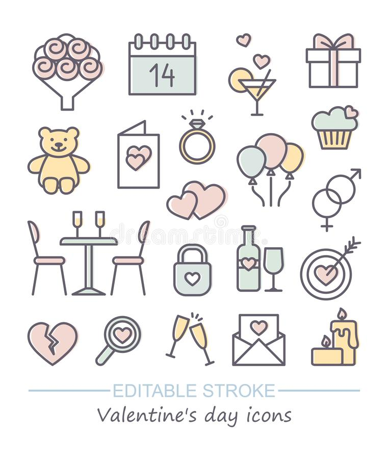 Valentine icon set. Happy valentine day related line icons with editable stroke royalty free illustration