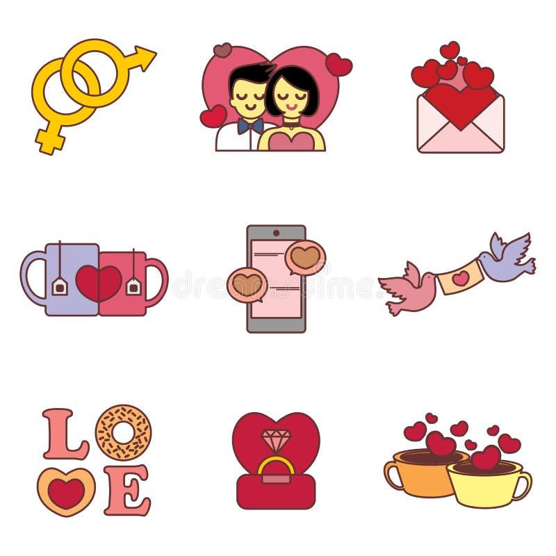 Valentine Icons Vector Illustration Graphic mignon illustration libre de droits