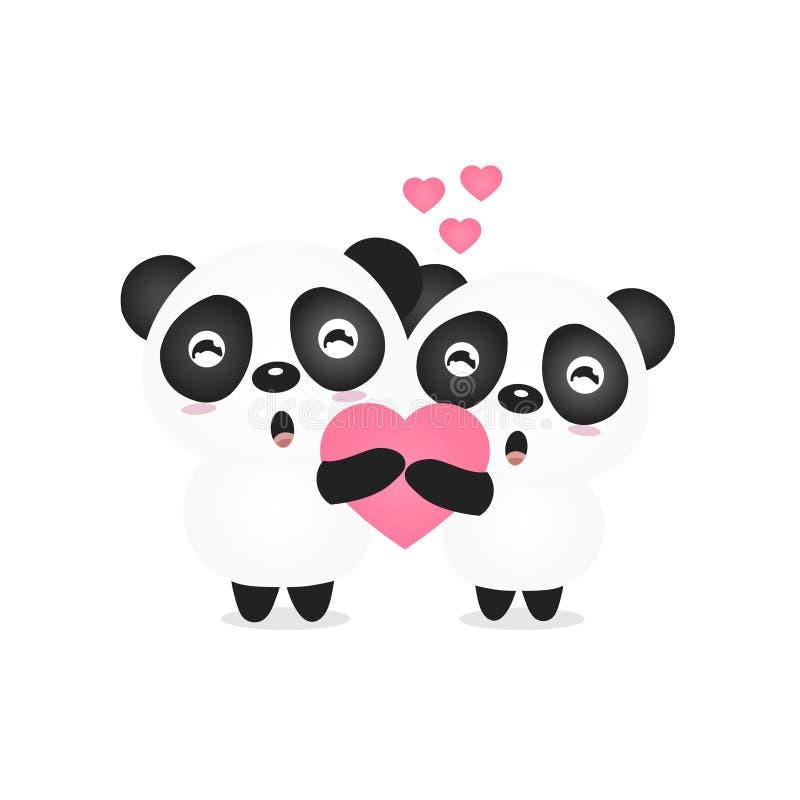 Valentine-illustratie van een leuk de holdingshart van de paarpanda stock illustratie