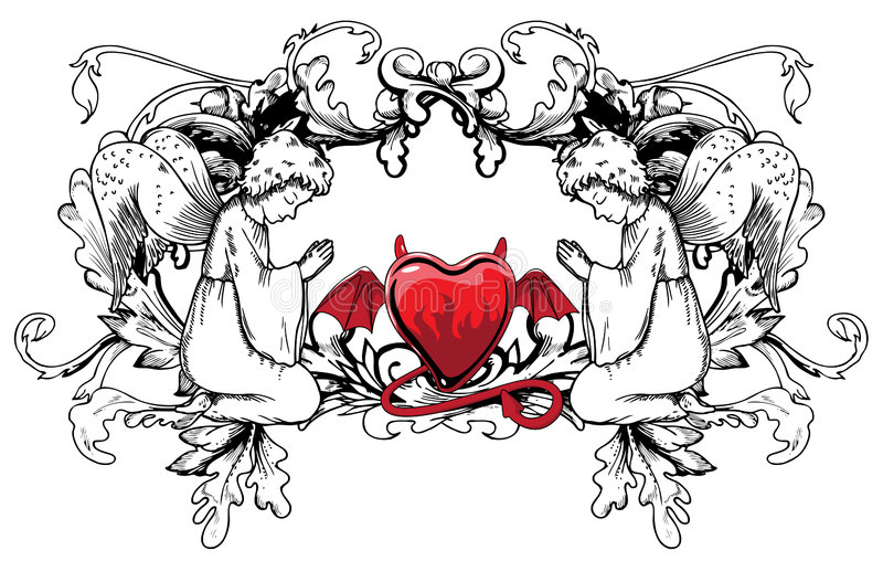 Valentine illustration. Of a abstract heart on a floral background stock illustration