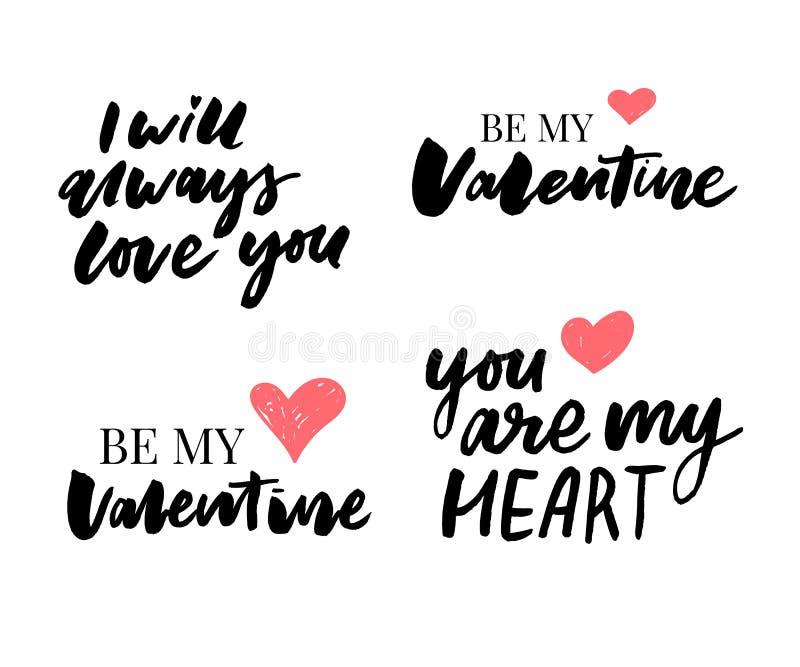 Valentine' insieme di giorno di s dei simboli calligraphy Illustrazione di vettore Gray su fondo bianco royalty illustrazione gratis