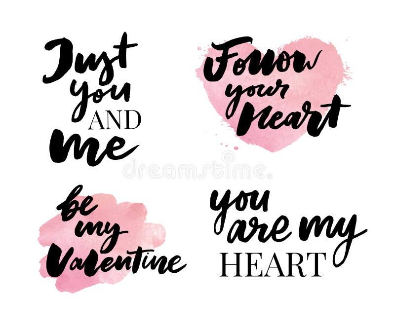 Valentine' insieme di giorno di s dei simboli calligraphy Illustrazione di vettore Gray su fondo bianco illustrazione di stock