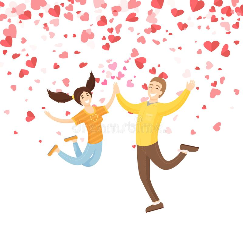 Valentine Jumping and Smiling Girl with Boy Vector. Jumping smiling girl with boy vector. Springing people with good mood giving five each other. Holiday card royalty free illustration